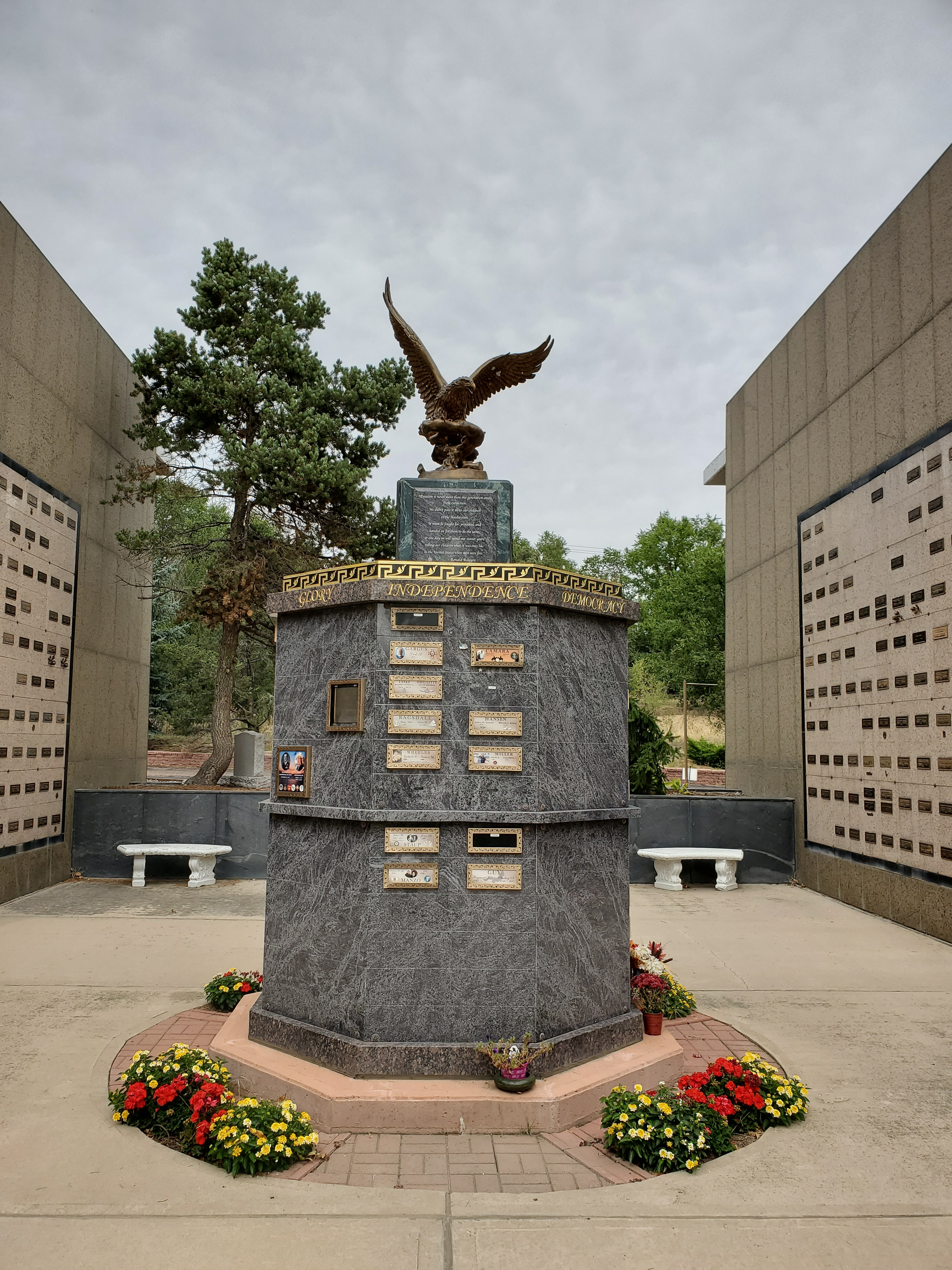 our new (eleven ton imported granite) estate Liberty Columbarium (serving veterans and their families) state of the art bronze plaques for memorialization with personalized photographs