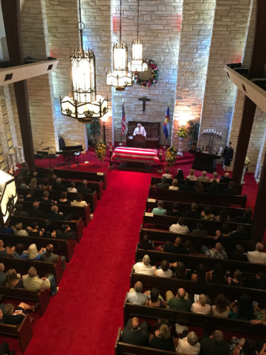Chapel from balcony with people 2
