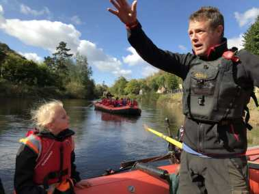 Teaching school groups on a raft trip