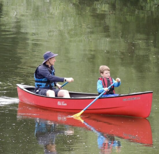 Father and son canoe hire