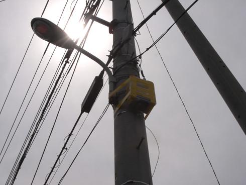 電柱に設置された仮設の鳥の巣
