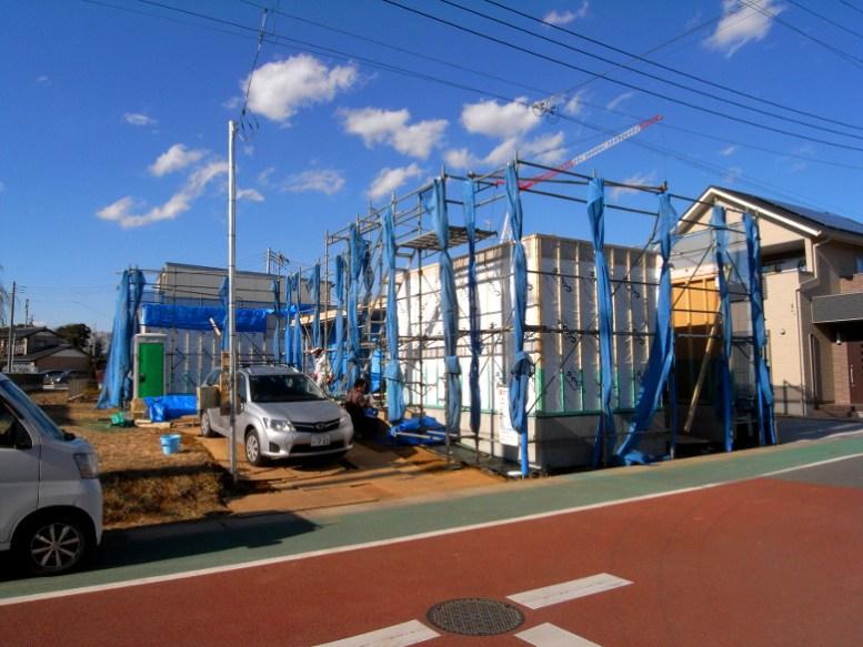 構造用耐力面材及び透湿防水シートの施工完了
