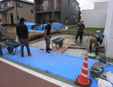 駐車場の配筋 が完了。最後のコンクリート打設です