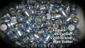 Impact 100 Qty 45 Caliber 200 Grain Wadcutter Air Rifle Bullets Pellets