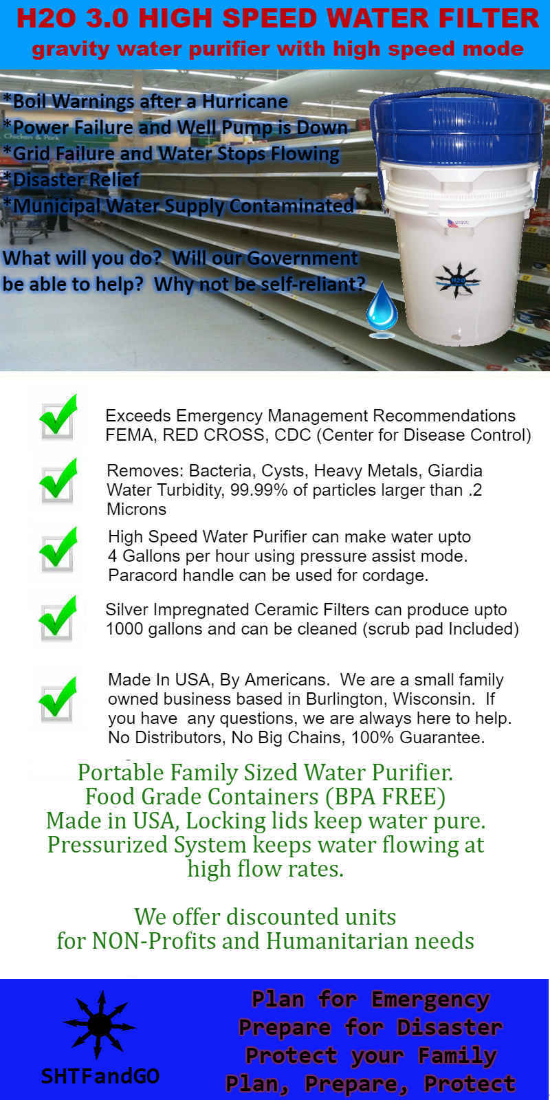 H2O 3.0 Emergency High Speed Water Purifier