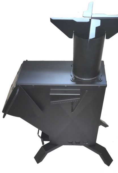 Bullet Proof RPG Rocket Heater Wood Stove Side View
