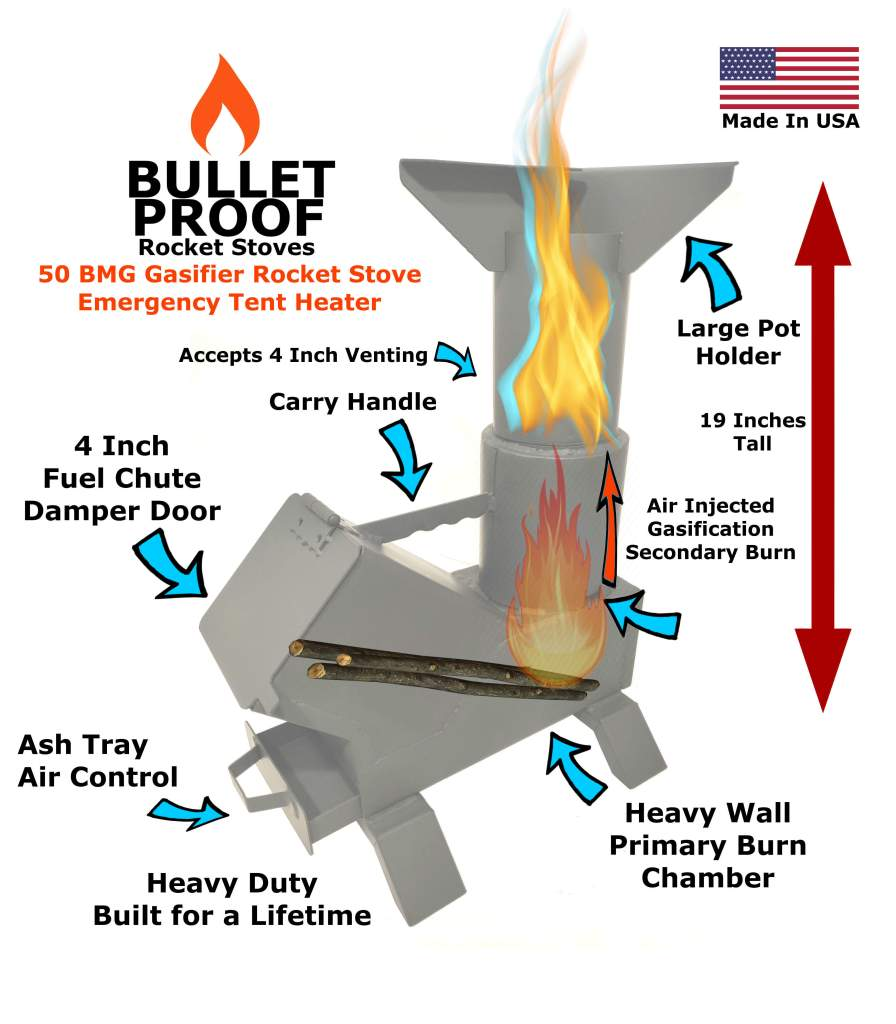 Bullet Proof Rocket Stove 50 BMG Cooking and Heating