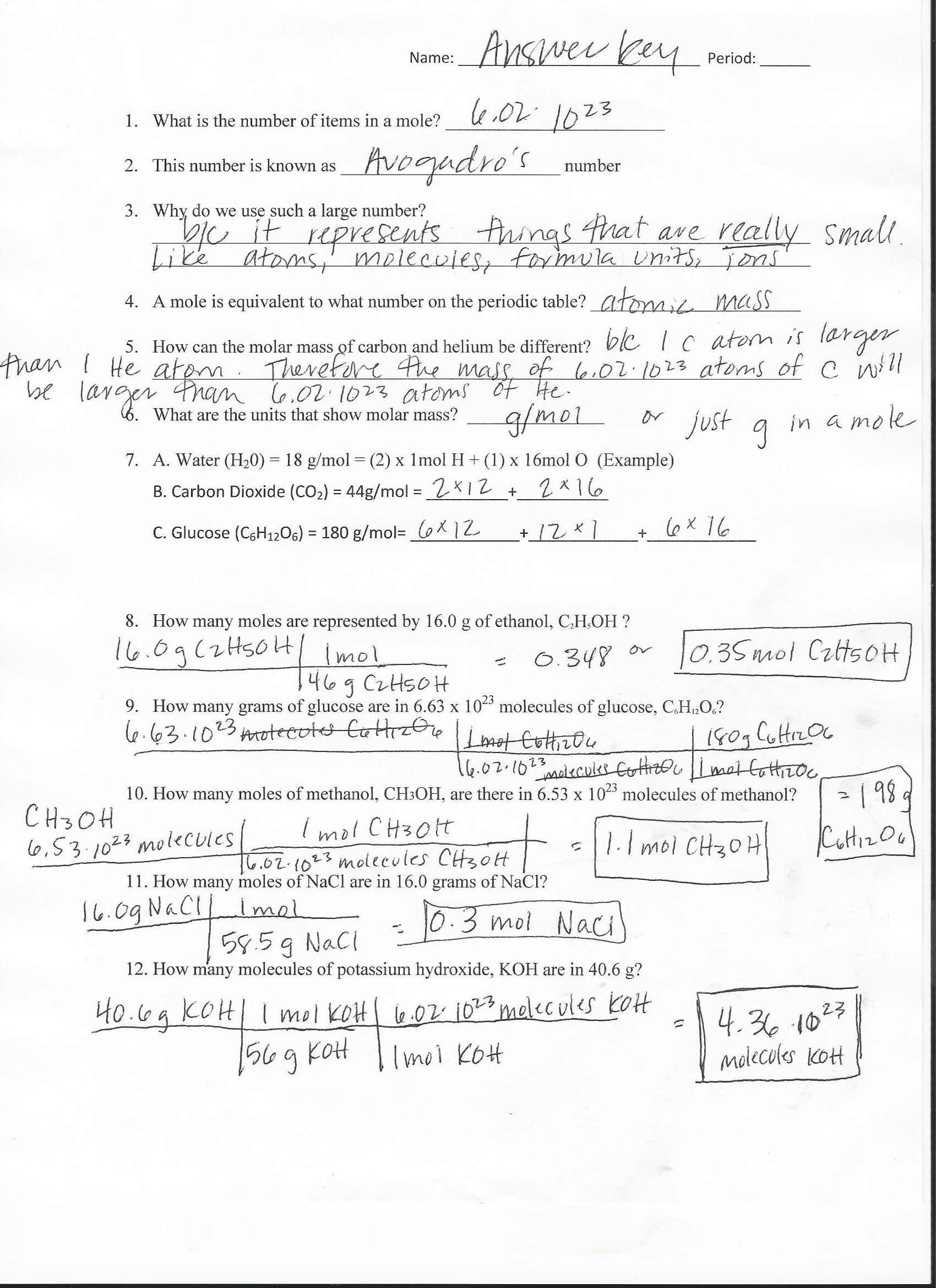 Chemistry Molecular Formula Worksheet Answers