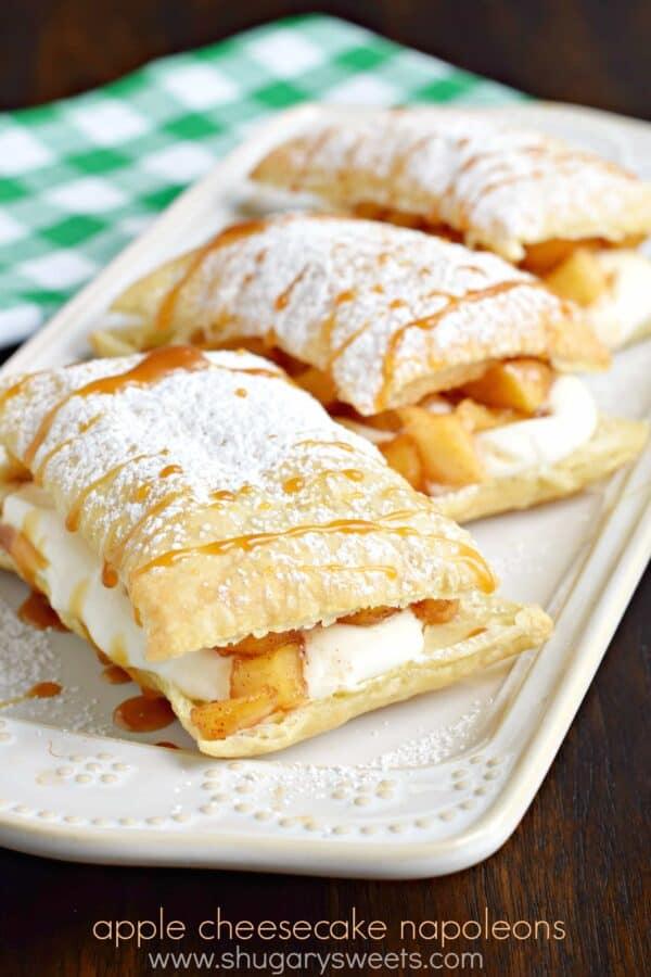 Caramel Apple Cheesecake Napoleons: a delicious, quick comfort food dessert recipe!