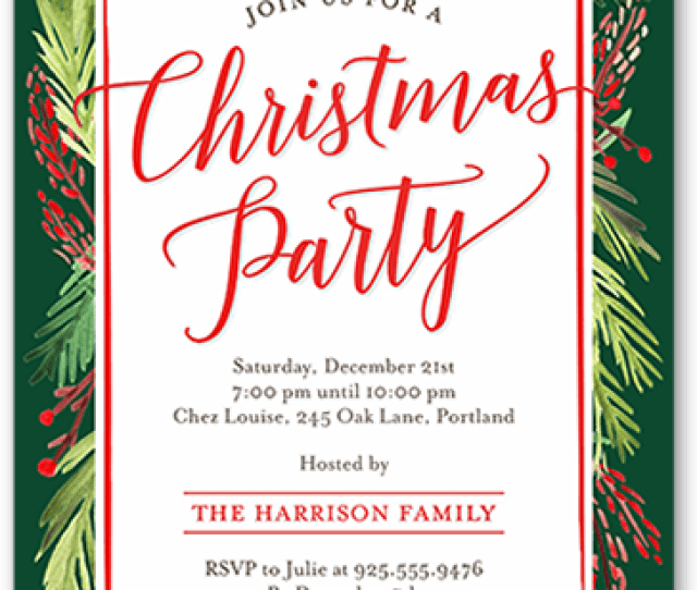 Christmas Party Invitation With Wreath