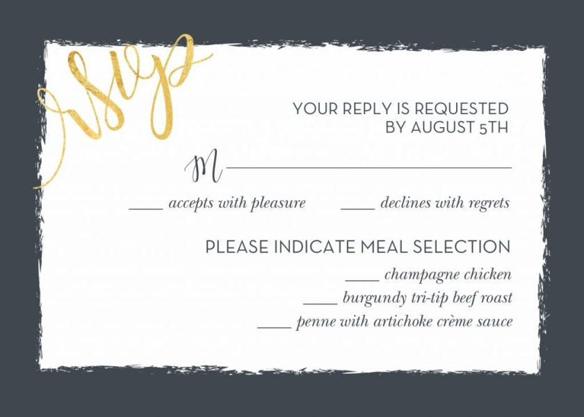 Contemporary Wedding Rsvp Card