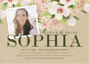 Fl Bridal Shower Invitation With Photograph Of The Bride To Be