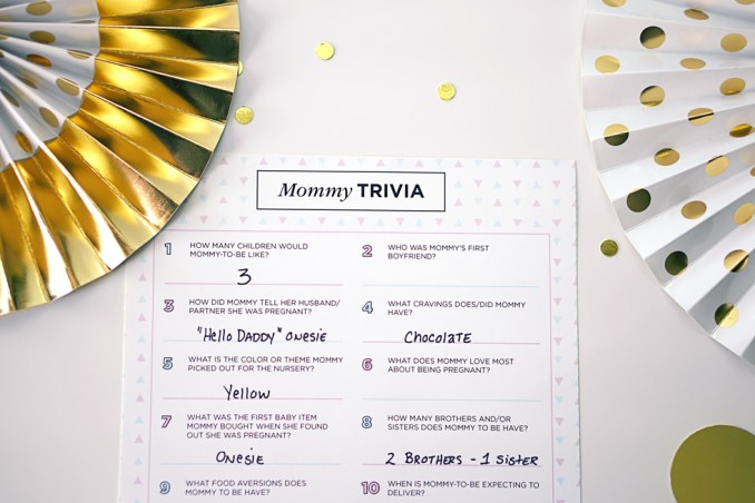 Baby Shower Games Mommy Trivia