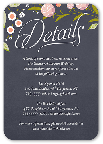 Acodation Hotel Card With Wedding Info