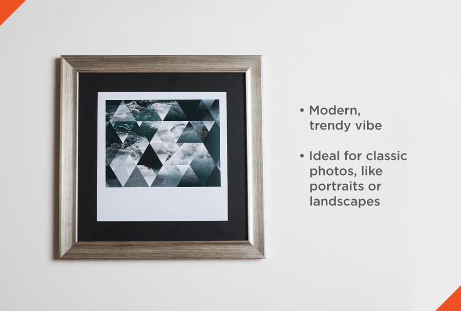Metallic frame on wall