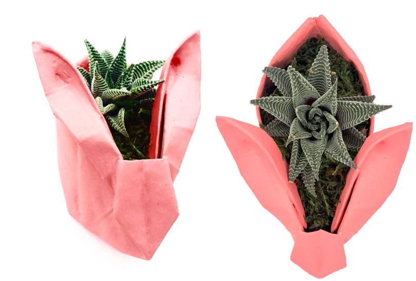 origami bunny planters
