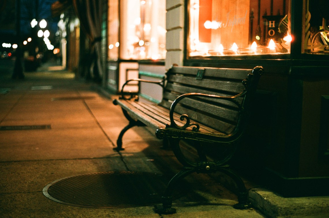 Bench along Main Street just before Sunrise in Franklin, Tennessee