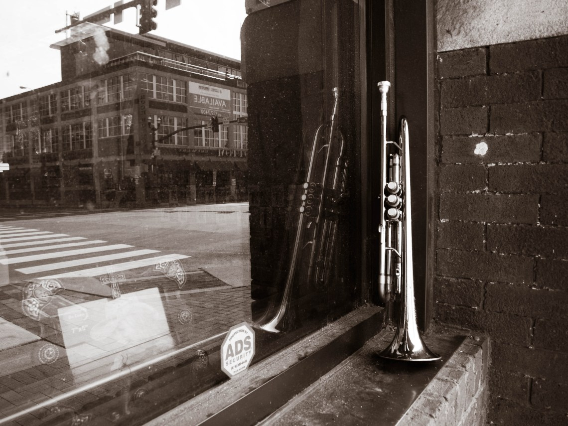 Trumpet from a Street Performer sitting in a Storefront Window in Downtown Nashville, Tennessee
