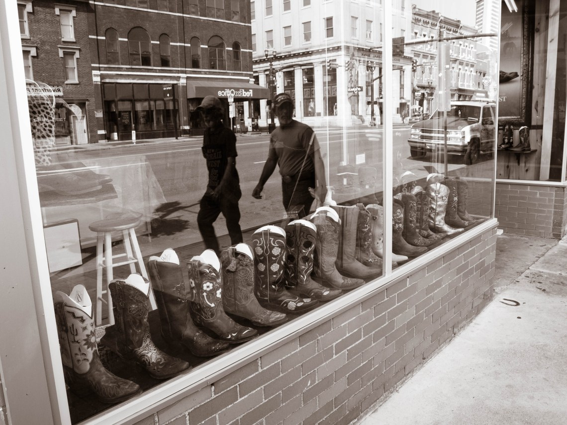 Boot Store Window on Broadway in Downtown Nashville, Tennessee