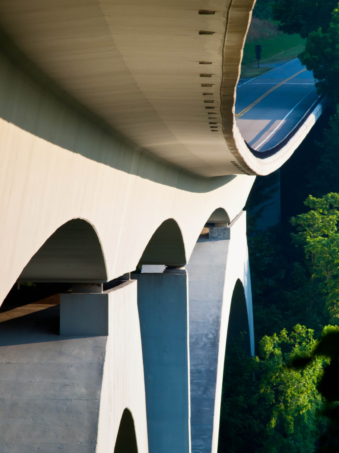 An underside view of the Natchez Trace Parkway Bridge in Franklin, Tennessee