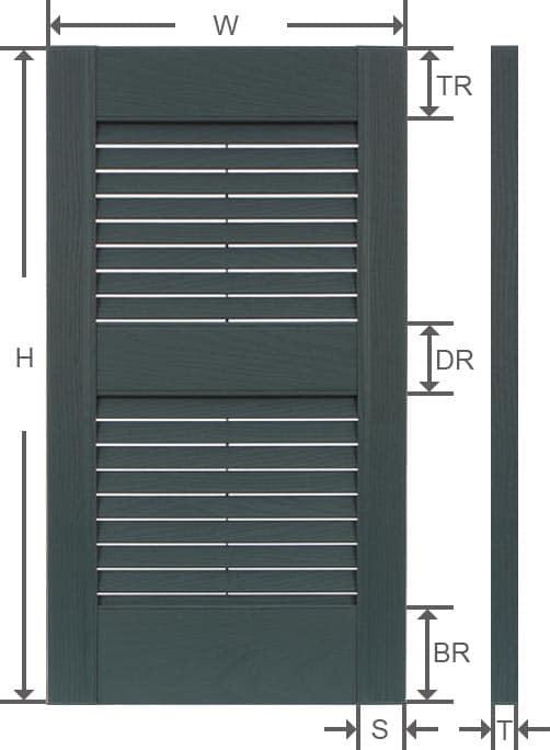 Vinyl louver outdoor shutter specifications.