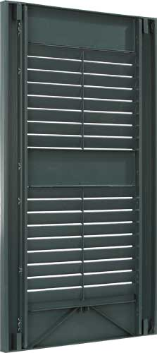 Vinyl louvered exterior shutter back.