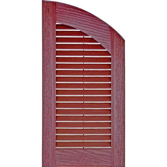 Red archtop vinyl exterior shutter with louvers.