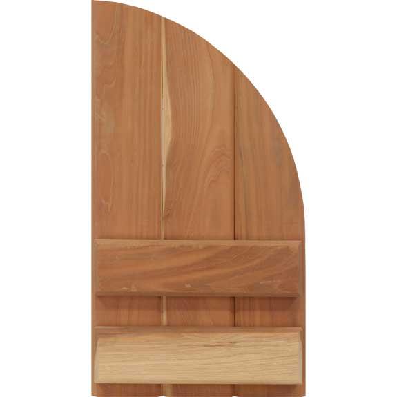 Arch top wood board & batten shutter.