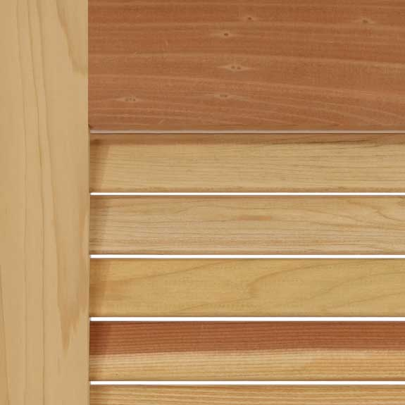 Premium wood louvered exterior California redwood shutters.