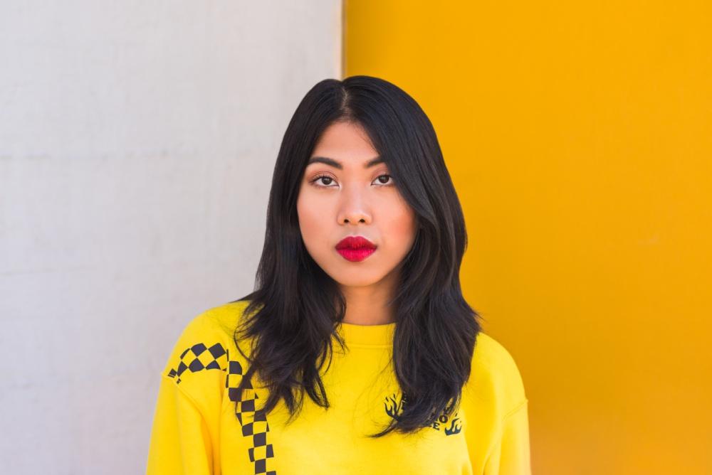 model voor muur met wit en geel vlak