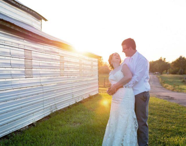 Rural White Lake Wedding South Dakota Wedding Photographer Bride and Groom Sunset