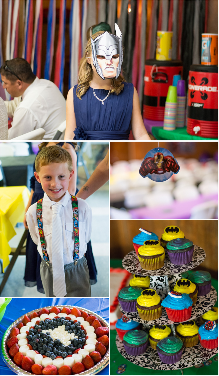 elk creek resort wedding reception marvel superhero theme