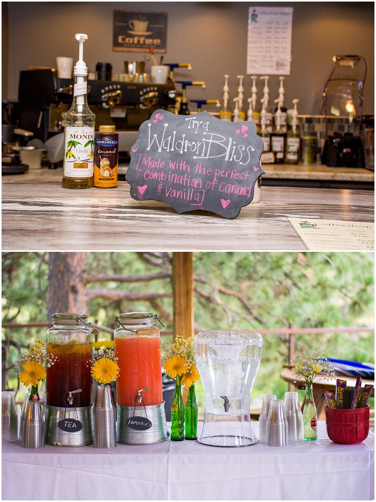 coffee bar wedding fresh floral drink table