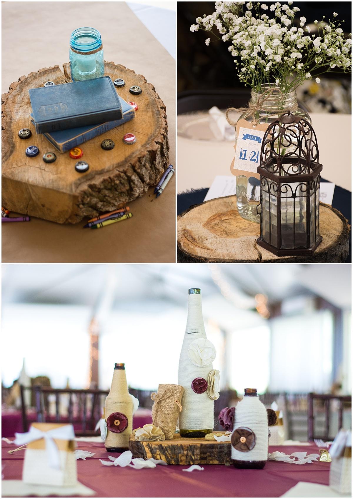 wood slab wedding centerpiece