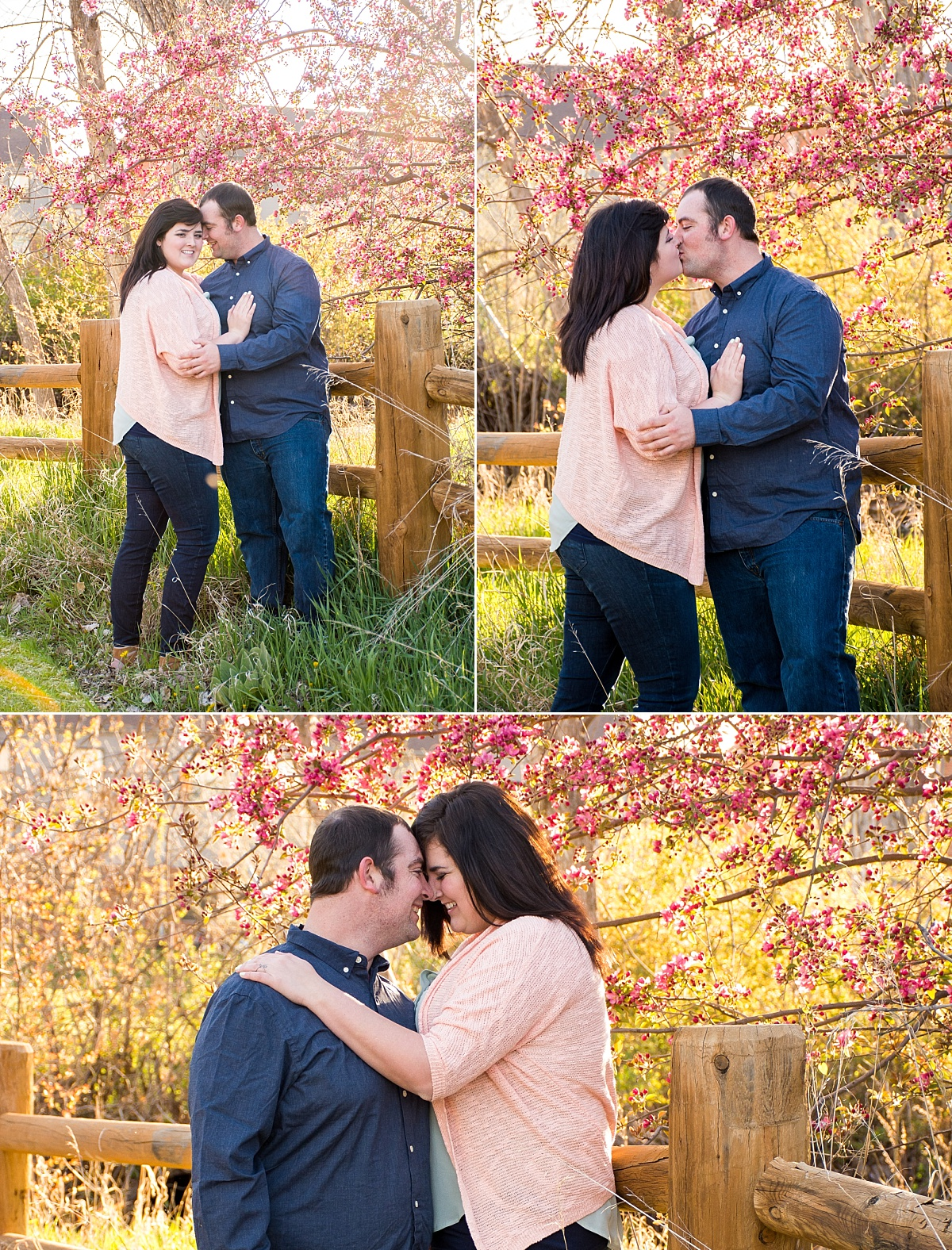pink spring blossoms outdoor campus west rapid city south dakota engagement photos 1