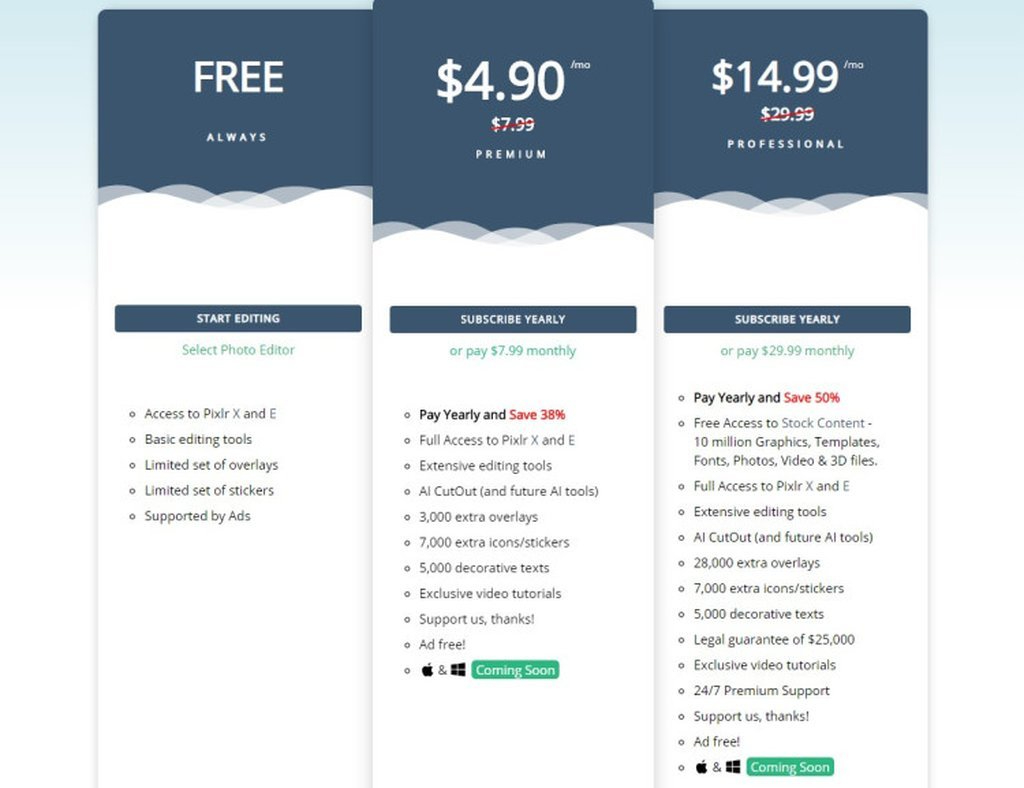 Pixlr's Free and Paid Plans