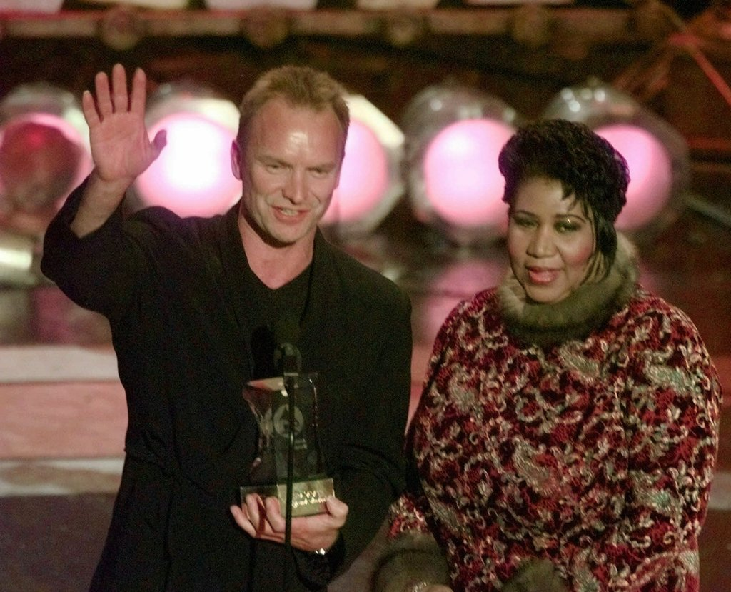 Sting and Aretha Franklin at the Grammys