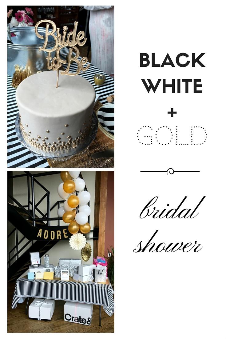 black white gold bridal shower