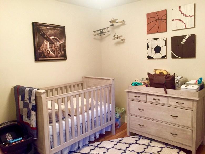 reclaimed-wood-sports-wall-art-in-baby-nursery