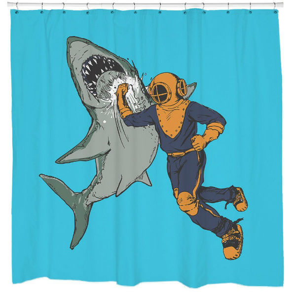 Shark Punch Shower Curtain Shut Up And Take My Money