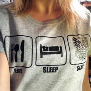 Attack on Titan Eat Sleep Slay T-Shirt Shut Up And Take My Yen : Anime & Gaming Merchandise
