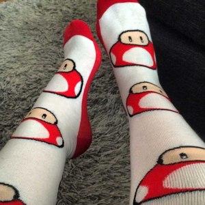 Super Mario Mushroom Socks