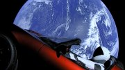 Photo of Red Tesla in Space