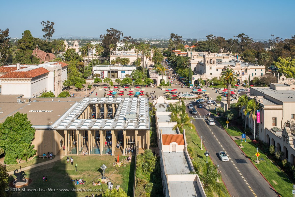 Balboa Park from the visitor platform of the California Tower at the Museum of Man. March 2016.