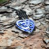 OM blue necklace heart shape unique design AUM