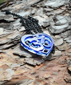 OM blue necklace heart shape unique design AUM