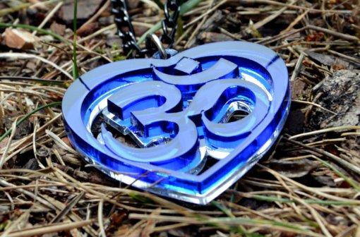 OM blue necklace heart shape uniquedesign from shyamantaka