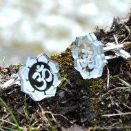 AUM cufflinks lotus circle
