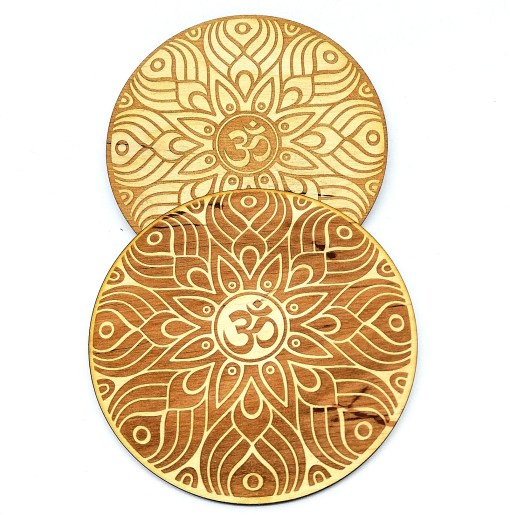 Set of 2 OM Coaster engraved from wood