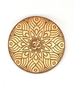 OM Coaster engraved from wood